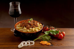 Ragu pasta and red wine Stock Photo