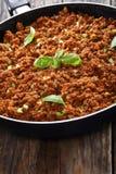 Ragu quente delicioso da carne no frigideira Fotografia de Stock Royalty Free