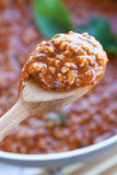 Ragu On Spoon Detail Stock Photo