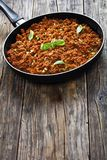 Ragu suculento bolonhês, vista superior da carne Imagem de Stock