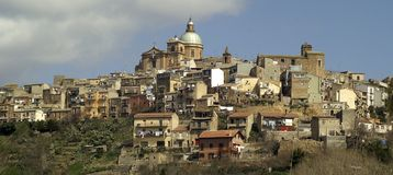 Ragusa  1. View from below of Ragusa Superior, Sicily Stock Photography