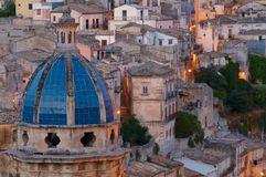 Ragusa at dusk stock photo