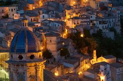 Ragusa at dusk stock images