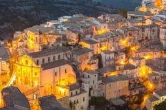 Ragusa Ibla (Sicilien) i aftonen Arkivfoto
