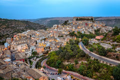 Ragusa, Sicily as dusk falls Royalty Free Stock Photos