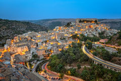 Ragusa, Sicily as dusk falls Stock Photos