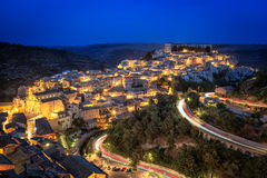 Ragusa, Sicily, Italy illuminated at night Royalty Free Stock Images