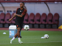 Raheem Sterling. Raheem Shaquille Sterling player of Manchester City, pictured during the official training before the Uefa Champions League match against Steaua Royalty Free Stock Photo