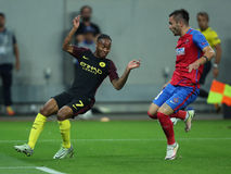 Raheem Sterling. Raheem Shaquille Sterling winger of Manchester City, pictured during the Uefa Champions League match against Steaua Bucharest. Manchester City Royalty Free Stock Image