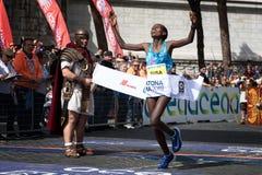 Rahma Tusa Chota wint de 24ste uitgave van de Marathon van Rome Stock Fotografie
