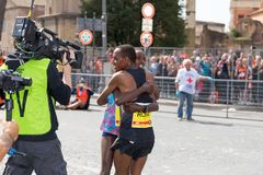 Rahma Tusa Chota wint de 24ste uitgave van de Marathon van Rome Stock Afbeelding