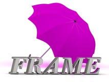 RAHMEN-Aufschrift von silbernen Buchstaben und von Regenschirm Lizenzfreie Stockbilder