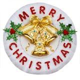 Rahmen der frohen Weihnachten gemacht vom Text, Tannenzweige, rote Beeren ho Lizenzfreies Stockbild