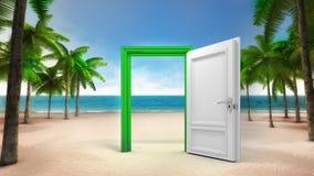 Rahmen der offenen Tür auf dem sandigen tropischen Strand stock abbildung