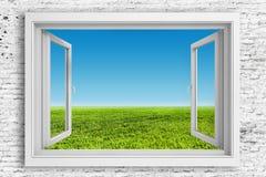 Rahmen des Fensters 3d mit Hintergrund des blauen Himmels