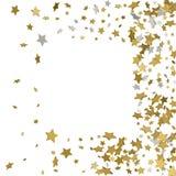 Rahmen des Gold 3d oder Grenze von goldenen Sternen der gelegentlichen Streuung auf Weiß Stockfoto