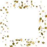 Rahmen des Gold 3d oder Grenze von goldenen Sternen der gelegentlichen Streuung auf Weiß Lizenzfreies Stockfoto