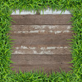 Rahmen des grünen Grases mit hölzernem Hintergrund der Weinlese Lizenzfreie Stockfotografie