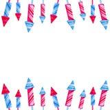 Rahmen für Juli 4. Feuerwerksfestival Aquarellillustration für Feiertage, vereinigt angegebener Unabhängigkeitstag Entwurf lizenzfreie abbildung