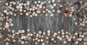 Rahmen-Geld prägt Hintergrund Stockbilder