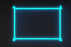 Rahmen-Leuchtreklame-Backsteinmauer Lizenzfreie Stockfotos