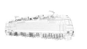 Rahmen-Lokomotivmodell des Drahtes 3d lizenzfreie abbildung
