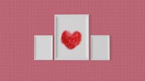 Rahmen mit drei Weiß mit einem roten Herzen in der Mitte Stockfotografie