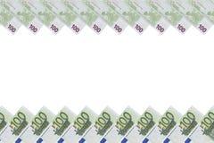 Rahmen mit 100 Eurobanknoten Stockfotos