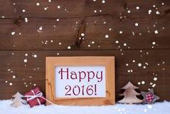 Rahmen mit Weihnachtsdekoration, Schnee, glückliches 2016, Schneeflocken Stockfoto
