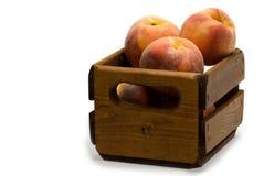 Rahmen Pfirsiche auf Weiß Stockfoto
