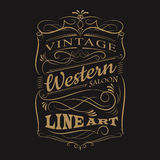 Rahmen-T-Shirt Design der Weinleseaufklebertypographie Westhand gezeichnetes Stockfoto