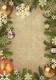 Rahmen von den Zweigen eines Weihnachtsbaums Stockfotos
