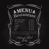 Rahmen-Weinleseaufkleber des Tafelrestaurantmenüs Hand gezeichneter Stockfotos