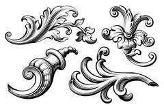 Rahmengrenzmonogramm-Blumenverzierungsrolle der Weinlese gravierte barocke viktorianische die Retro- kalligraphische Mustertätowi Stockfoto