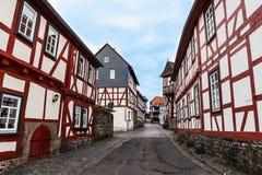 Rahmenhäuser in der historischen Stadt Lich, Deutschland Stockfoto