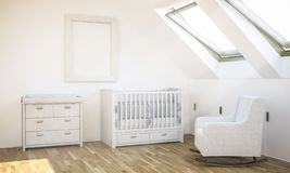 Rahmenmodell auf Babyraum stockfotos