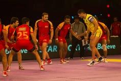 Rahul Chaudhari raiding Kabaddi Stock Photo