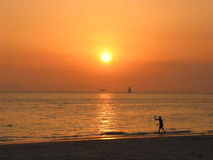 Rai Leh beach, Krabi, Thailand. Sunset at the beach, Krabi, Thailand stock photos