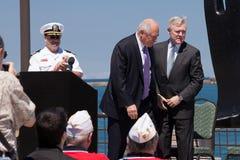 Raia Mabus e pancadinha Quinn na cerimónia de USS Illinois Foto de Stock