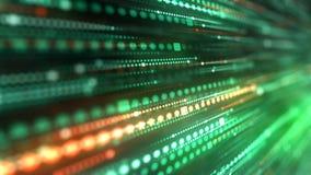 Raias claras verdes digitais geradas por computador Fundo abstrato do movimento da rendição 3d 4K, ultra definição de HD ilustração stock