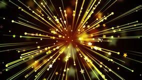 Raias e fundo dourados das estrelas Fotografia de Stock Royalty Free