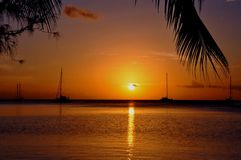 Raiatea, french polynesia. Sunset at beautiful lagoon of Raiatea, french polynesia stock image