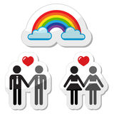 Raibnow gay couple icons. Gay marrage, gay couple, rainbow symbol concept isolated on white background Royalty Free Stock Photos