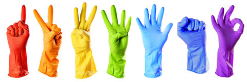 Raibow color rubber gloves Royalty Free Stock Image