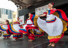 Raices Latinas: Traditional Colombian Dance in Toronto. TORONTO-AUGUST 31: The Hispanic Fiesta features the best known local & International Hispanic performers Royalty Free Stock Image