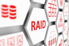 RAID concept. Cell blurred background 3d illustration Stock Photo