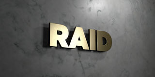Raid - Gold sign mounted on glossy marble wall  - 3D rendered royalty free stock illustration. This image can be used for an online website banner ad or a Royalty Free Stock Image