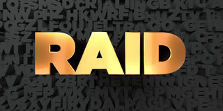 Raid - Gold text on black background - 3D rendered royalty free stock picture. This image can be used for an online website banner ad or a print postcard Stock Photos