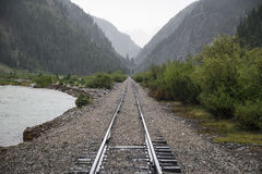 Raid Road tracks towards mountains and Animas River, Durango and Silverton Narrow Gauge Railroad, Silverton, Colorado, USA Royalty Free Stock Photo
