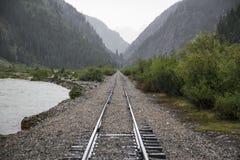 Raid Road tracks towards mountains and Animas River, Durango and Silverton Narrow Gauge Railroad, Silverton, Colorado, USA Royalty Free Stock Photo